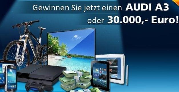30000 Euro Bargeld oder Audi A3 Gewinnspiel